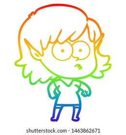 rainbow gradient line drawing of a cartoon elf girl staring