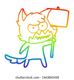 rainbow gradient line drawing of a cartoon grinning fox with protest sign