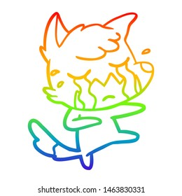 rainbow gradient line drawing of a crying fox cartoon dancing