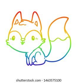 rainbow gradient line drawing of a cute fox