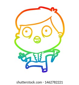 rainbow gradient line drawing of a frightened man hunting halloween vampires