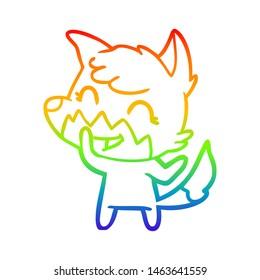 rainbow gradient line drawing of a happy cartoon fox