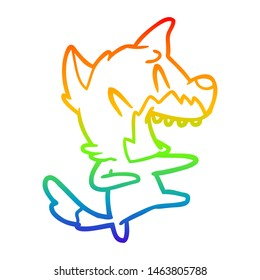rainbow gradient line drawing of a laughing fox dancing