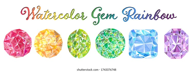 Rainbow gradient made with handpainted watercolor gemstones. Set of ruby, citrine, peridot, emerald, aquamarine and amethyst illustrations. Precious gems image