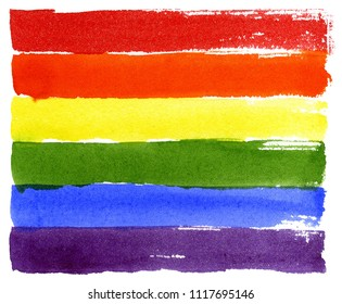 Rainbow. Hand drawn watercolor illustration isolated on white background. Gay pride LGBT flag. Symbol of LGBT movement.