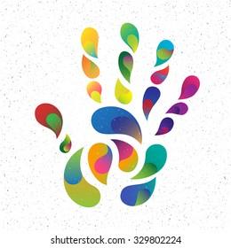 rainbow handprint. rainbow colors of a hand and fingers