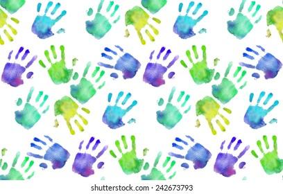 Rainbow handprints. Watercolor pattern