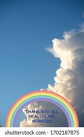The rainbow has become a symbol of support for people wanting to show solidarity with healthcare workers on cloud background