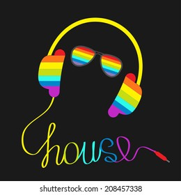 Rainbow headphones with cord in shape of word house and glasses. Music card.