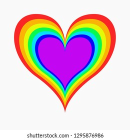 Rainbow heart icon, lgbt color. Symbol of homosexual love. Lgbt community sign isolated on white background
