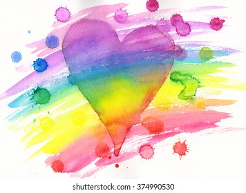 Rainbow heart with paint splashes watercolor painting