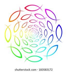 Rainbow ichthys mandala