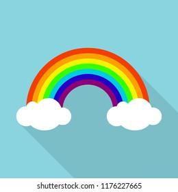 Rainbow icon. Flat illustration of rainbow icon for web