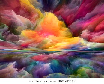 Rainbow Landscape. Seeing Never World series. Backdrop composed of colors, textures and gradient clouds for projects on inner life, drama, poetry, art and design