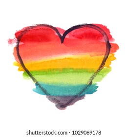 Rainbow LGBT heart backdrop painted in watercolor on clean white background