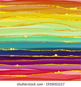 Rainbow line abstract luxury composition Inkscapes. Watercolour landscape, texture, Alcohol ink, Fluid chaos, art, kintsugi style and liquid and watercolor gold flow drop