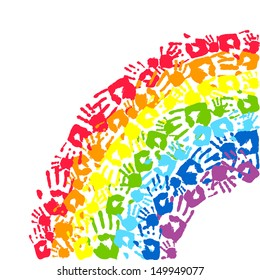 Rainbow made from hands. Abstract background