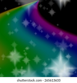 Rainbow milky way generated on black sky with white stars