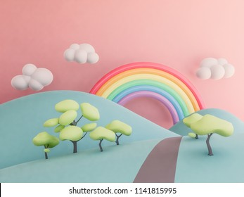 rainbow with mountains pastel background , 3d render