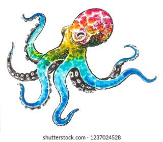 Rainbow octopus. Ink and watercolor illustration