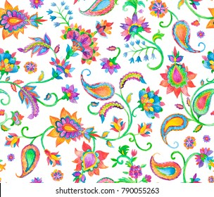Rainbow paisley, flores, flowers, tulips, leaves isolated on white background. Bright colorfull floral seamless pattern. Abstract indian print Oriental traditional whimsical seamless border for design
