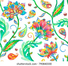 Rainbow paisley, flores, flowers, tulips, butterfly isolated on white background. Bright colorfull floral seamless pattern. Abstract indian print. Oriental traditional whimsical seamless border design