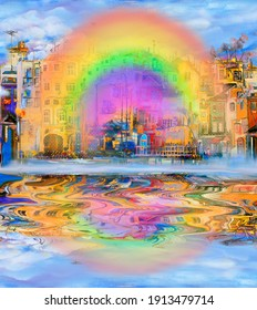 Rainbow and reflection in the city after the rain. Oil painting cityscape.