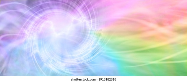 Rainbow Spiralling Vortex Background Banner - beautiful ethereal radiating gaseous energy  field with a spiral on left side with streams of energy trailing across to the right side and space for  copy