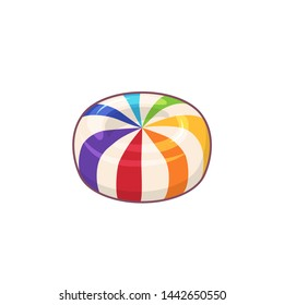 Rainbow striped candy. Icon of hard sugar round candy. Raster version