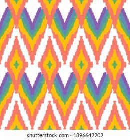 Rainbow striped fabric with beautiful pattern.