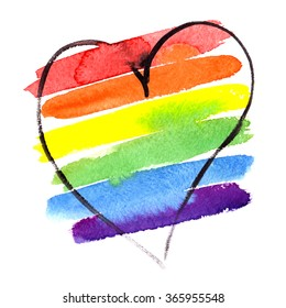Rainbow striped heart painted in watercolor on white isolated background