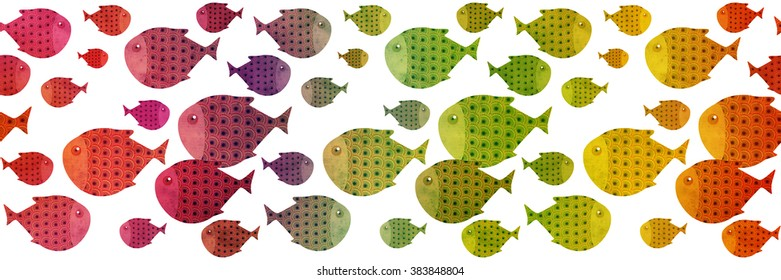 rainbow swimming fish border illustration, textured paper effect on white background