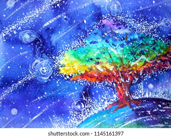 rainbow tree color colorful watercolor painting blue night illustration design