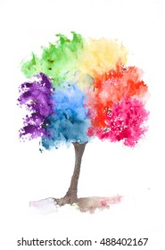Rainbow tree on white, watercolor painting