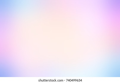 Rainbow vignette abstract background. Watercolor empty background. White, pink, blue blurred texture. Iridescent blurred background.