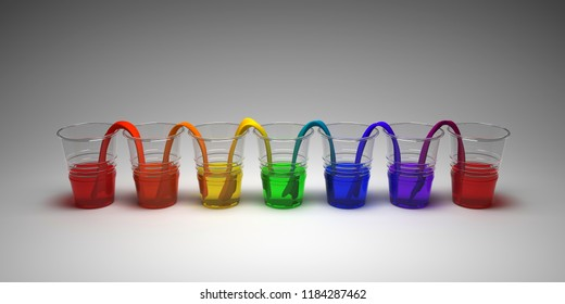 Rainbow walking water experiment on empty background. Concept of science. Glasses in row with colored water and wet paper between. 3D Render.
