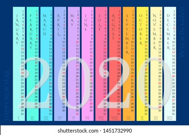 Rainbow wall calendar 2020 with vertical months on navy blue background. Raster