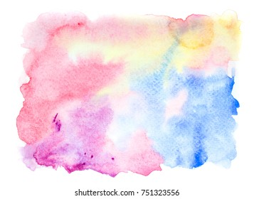 rainbow water colorful brush stains bright background.artistic hand pained splash