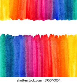 Rainbow watercolor background with space for text. Multicolored frames or borders made of watercolour gradient fill. Colorful stripes texture. Brush drawn, artistic uneven edge.