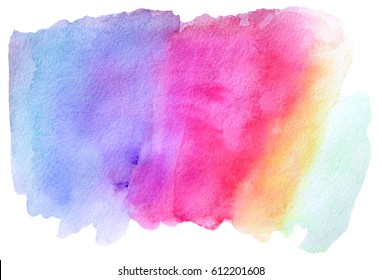 Rainbow watercolor hand painted background. Abstract colorful illustration. Isolated on white background.