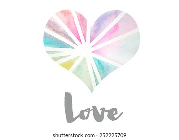 Rainbow Watercolor Heart Background With Love Text. Perfect for Valentines
