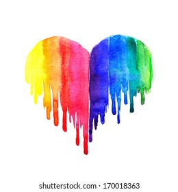 Rainbow watercolor heart on white background