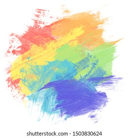 Rainbow watercolor paint background isolated on white, concept