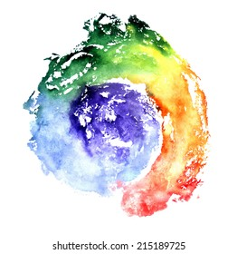 Rainbow, watercolor painting