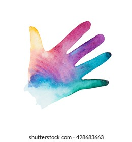 Rainbow watercolor silhouette of children's hand isolated on white background