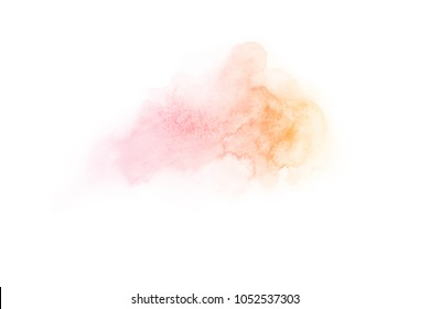 rainbow watercolor splash backdrop isolated on white, for text,tag, logo, design. color like orange, yellow, pink, peach,