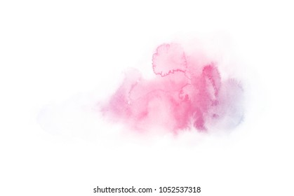 rainbow watercolor splash backdrop isolated on white, for text,tag, logo, design. color pink, violet, purple, blue