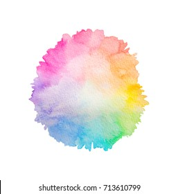 rainbow watercolor splash design n white backdrop for tag, label ,card, palette, package, spectrum, paper, brand, banner,