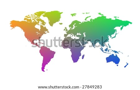 Rainbow World Map Stock Illustration Royalty Free Stock