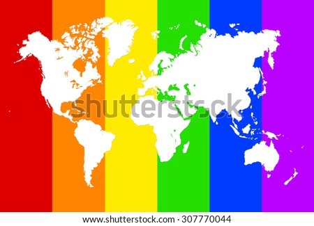 Rainbow World Map Illustration Horizontal Colours Stock Illustration
